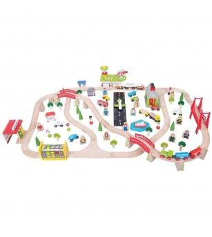 Circuit auto si feroviar (125 piese) - Vehicule de jucărie