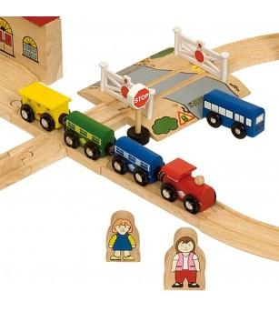 BigJigs - Circuit auto si feroviar (101 piese) - Vehicule de jucărie