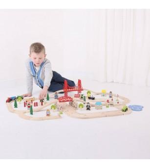 Circuit auto si feroviar (80 piese) - Vehicule de jucărie