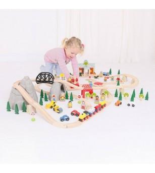 Circuit feroviar (112 piese) - Vehicule de jucărie
