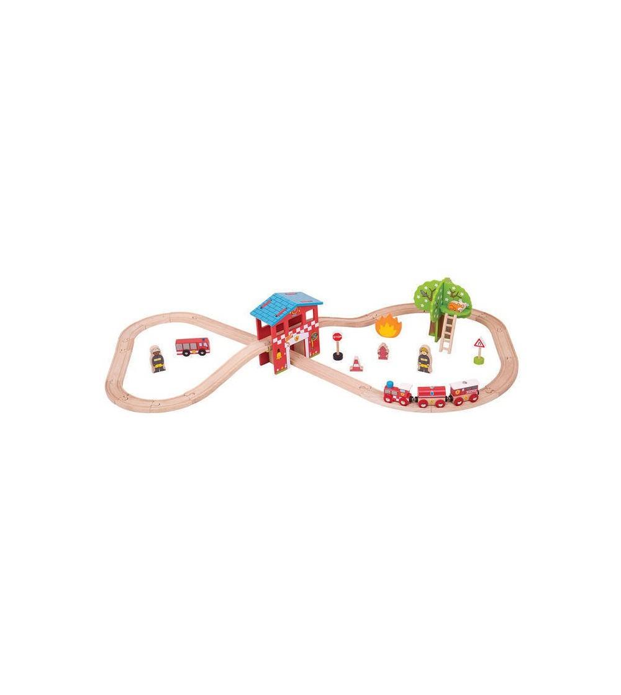 Set cu trenuletul pompierilor - Vehicule de jucărie