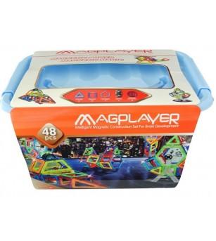 Joc de constructie magnetic MagPlayer - 48 piese - Jucarii magnetice