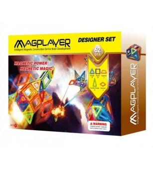 Joc de constructie magnetic MagPlayer - 62 piese - Jucarii magnetice