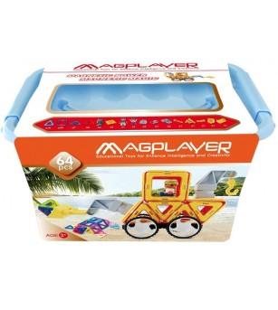 Joc de constructie magnetic MagPlayer - 64 piese - Jucarii magnetice