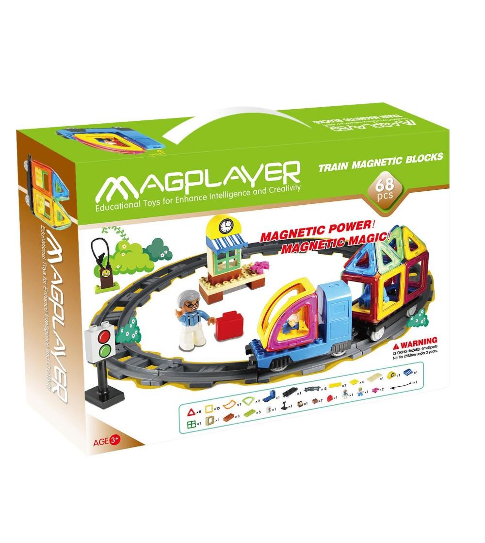 Joc de constructie magnetic MagPlayer - 68 piese - Jucarii magnetice