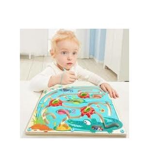 Puzzle labirint - Crocodilul - Jucării de lemn si Montessori