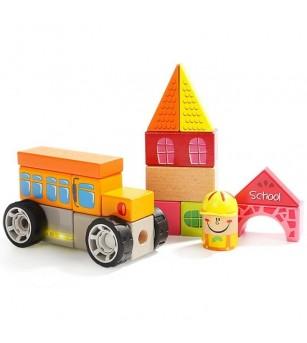 Set de constructie - La scoala - Jucării de lemn si Montessori