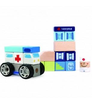 Set de constructie - La spital - Jucării de lemn si Montessori