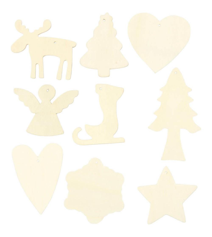 Set 9 ornamente Craciun din lemn, 7-8 cm