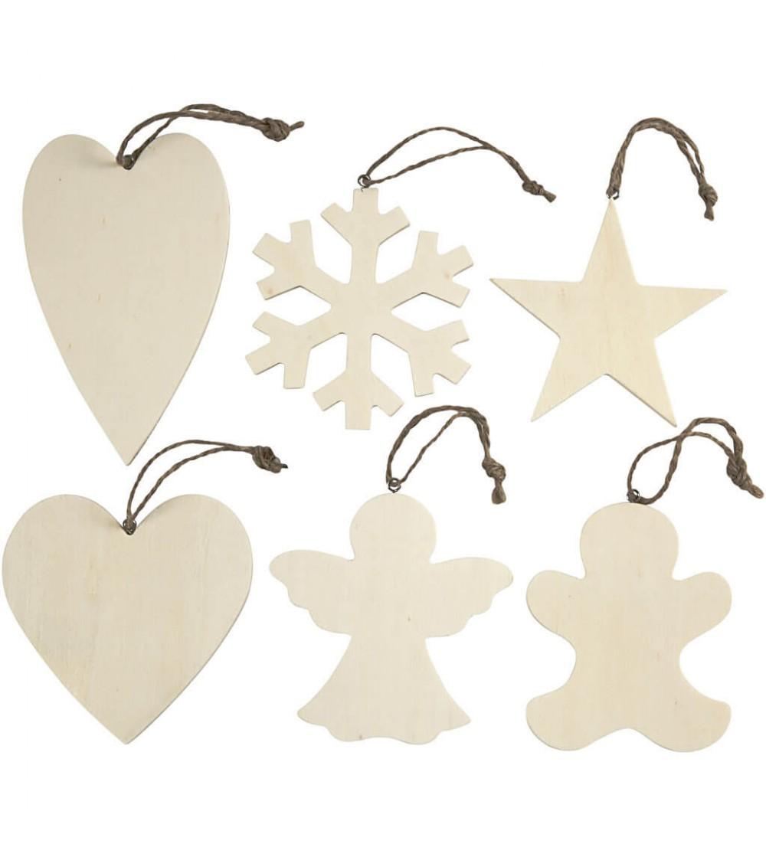 Set 6 ornamente Craciun din lemn, 9-11 cm