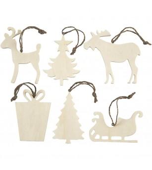 Set 6 ornamente Craciun din lemn, 7-9 cm