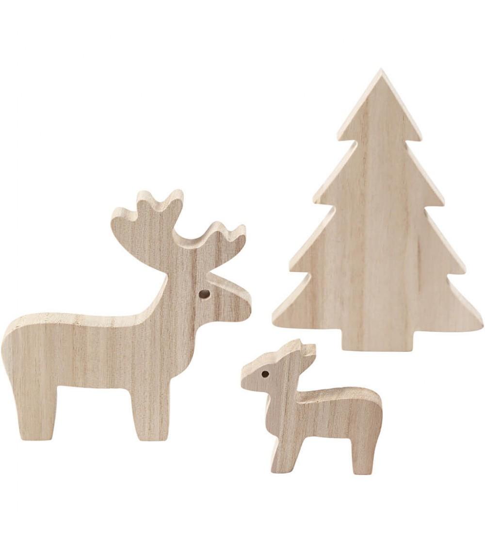 Set 3 figurine lemn Craciun