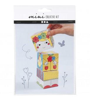 Mini kit creativ - Cuburi carton Printesa - Desen și pictură