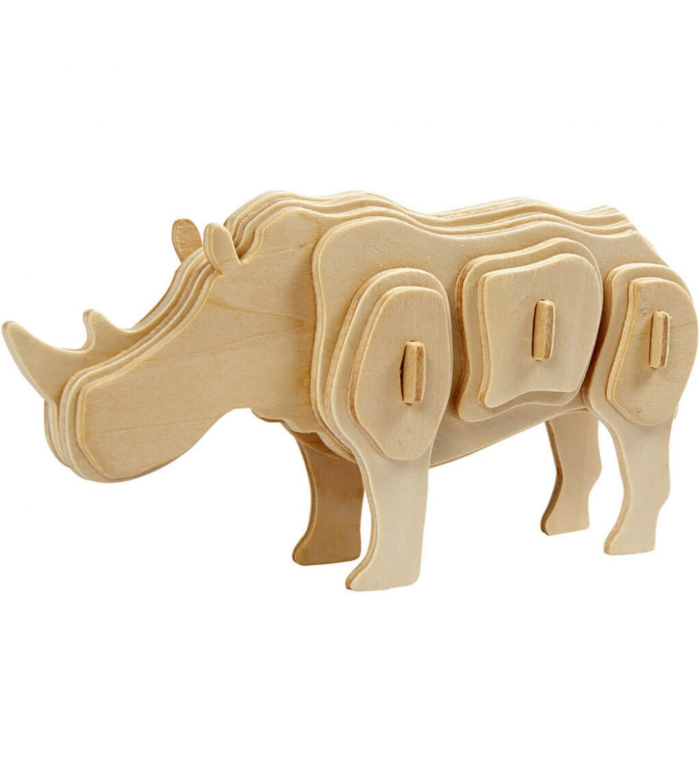 Kit 3D din placaj de lemn - Rinocer - Puzzle-uri
