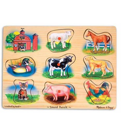 Puzzle lemn cu sunete Melissa and Doug - Animale de la Ferma