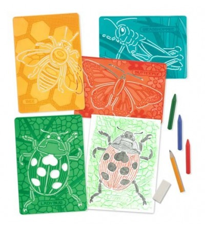 Set de sabloane texturate Insecte Melissa and Doug - Desen și pictură