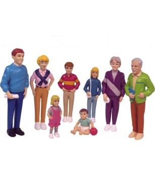 Familie Miniland de europeni - 8 figurine - Căsuțe de păpuși și accesorii