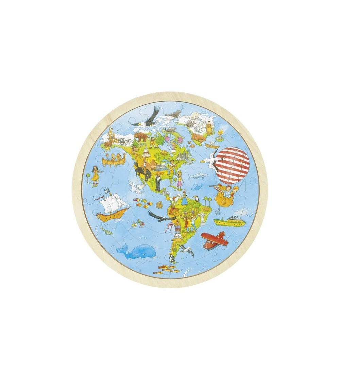 Puzzle circular din lemn - Calatorie prin lume - Puzzle-uri