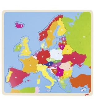 Puzzle din lemn Goki Harta Europei - Puzzle-uri