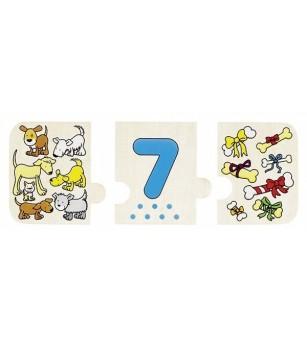 Puzzle lemn cu autocorectie - Invata numerele - Puzzle-uri