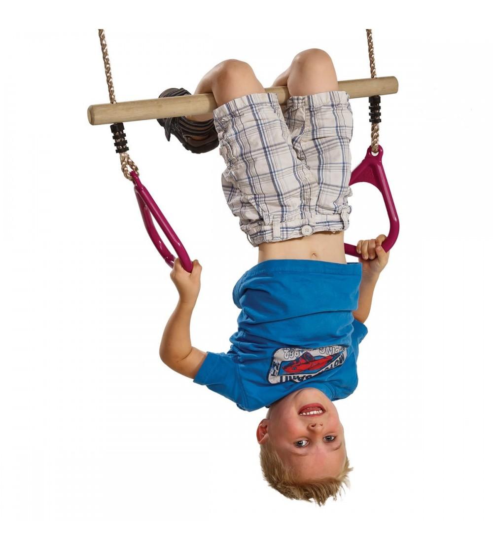 Trapez din lemn cu inele din plastic - PP - mov - Jucării și accesorii sportive