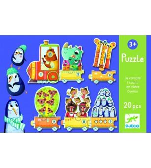 Puzzle Djeco Trenuletul cu animale numarate - Puzzle-uri