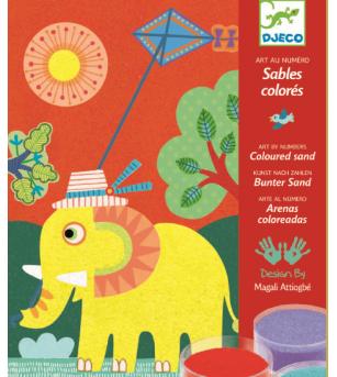Nisip colorat Djeco Animale pentru copii - Desen și pictură