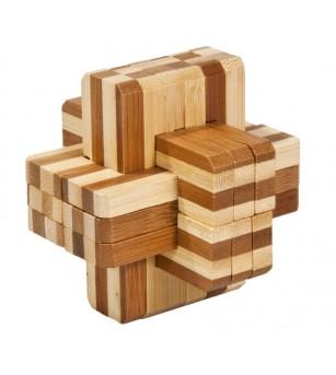 Joc logic IQ din lemn bambus Block cross - Jucării logică