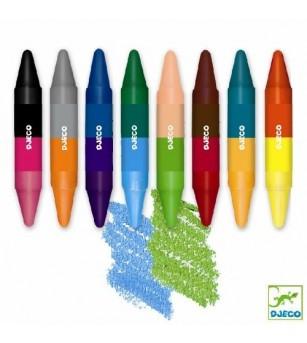 Creioane de colorat duble Djeco - Desen și pictură