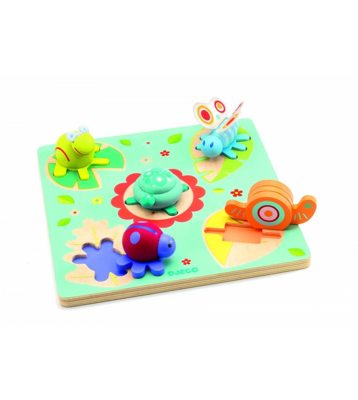 Puzzle Djeco relief Lilo Testoasa si prietenii - Jucării de lemn si Montessori