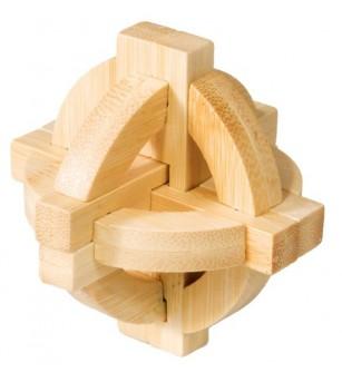 Joc logic IQ din lemn bambus Double disk puzzle 3d - Jucării logică