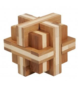 Joc logic IQ din lemn bambus Double cross - Jucării logică