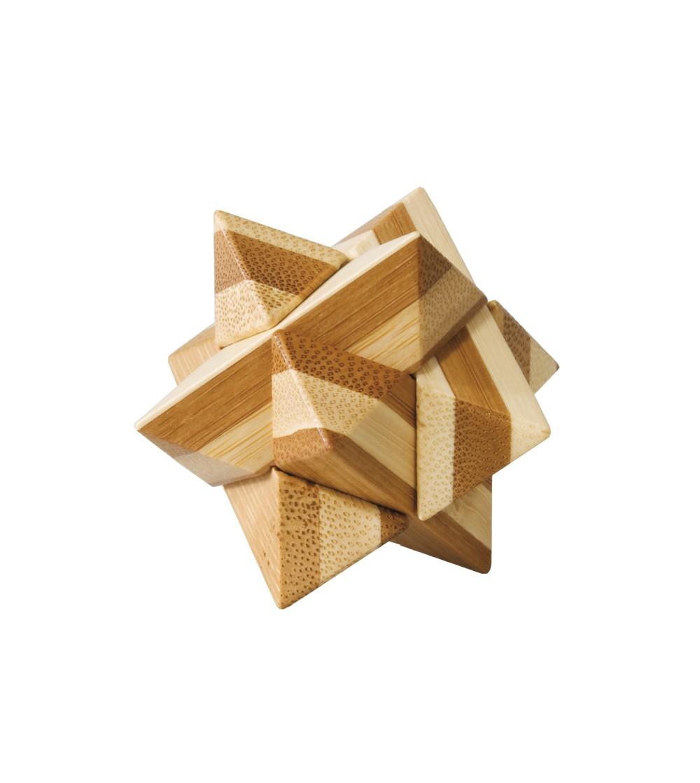 Joc logic IQ din lemn bambus Star, cutie metal - Jucării logică