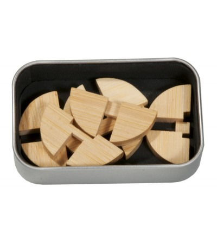 Joc logic IQ din lemn bambus in cutie metalica-3 - Jucării logică