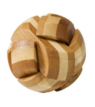 Joc logic IQ din lemn bambus Ball, cutie metal - Jucării logică