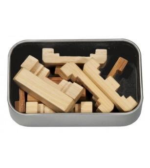 Joc logic IQ din lemn bambus in cutie metalica-5 - Jucării logică
