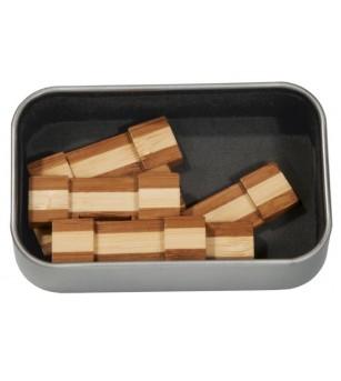 Joc logic IQ din lemn bambus in cutie metalica-6 - Jucării logică