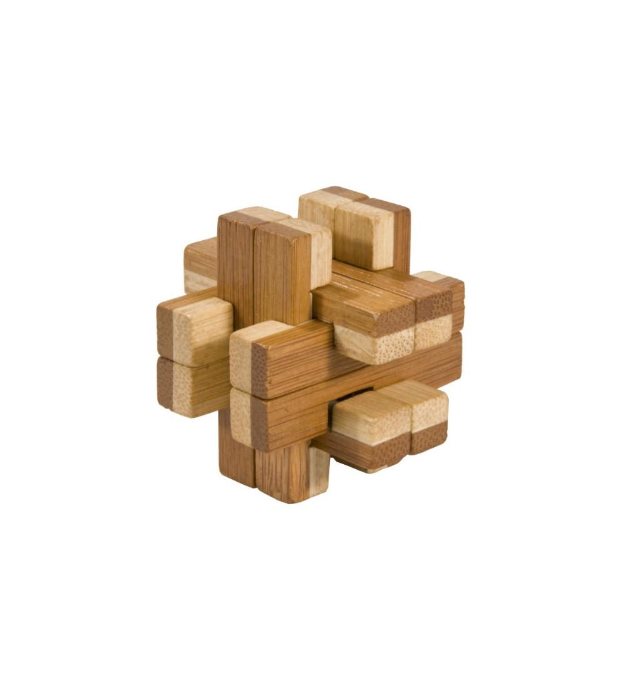 Joc logic IQ din lemn bambus in cutie metalica-8 - Jucării logică