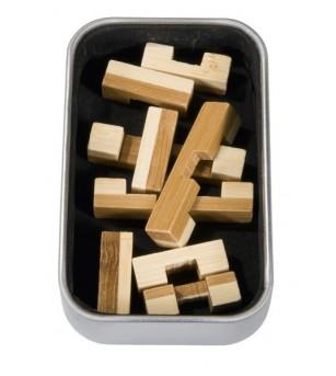 Joc logic IQ din lemn bambus in cutie metalica-9 - Jucării logică