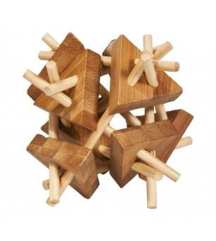 Joc logic IQ din lemn bambus Sticks&triangles - Jucării logică