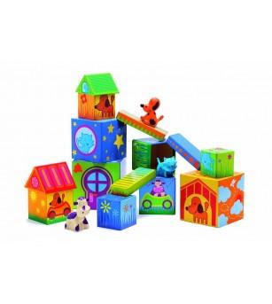 Cuburi de construit cu animale Cubanimo Djeco - Jocuri construcție