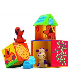 Cuburi de construit cu animale Cubanimo Djeco - Jucării de lemn si Montessori
