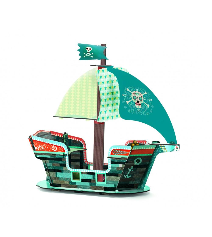 Corabia piratilor Djeco macheta 3D - Jocuri construcție
