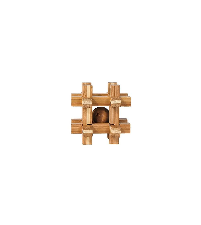 Joc logic IQ din lemn de bambus Box with ball - Jucării logică
