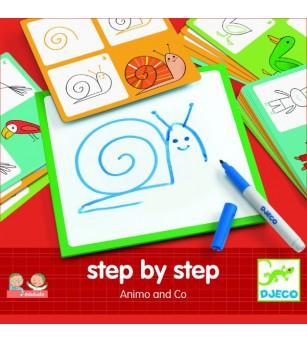 Deseneaza pas cu pas, animale & co Djeco - Desen și pictură