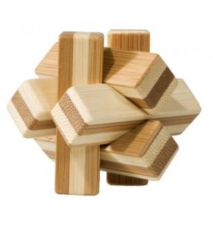 Joc logic IQ din lemn bambus Knot, cutie metal - Jucării logică