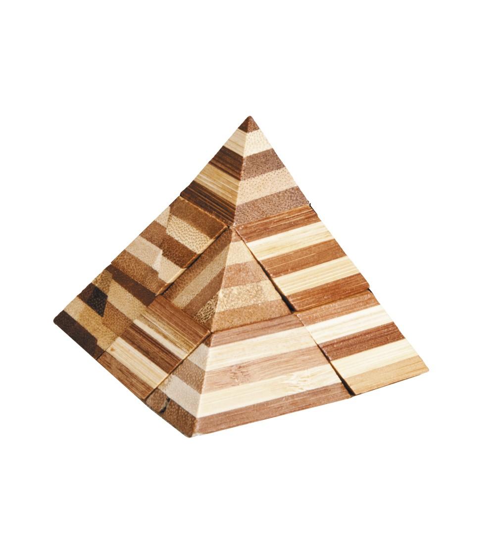 Joc logic IQ din lemn bambus 3D Pyramid - Jucării logică