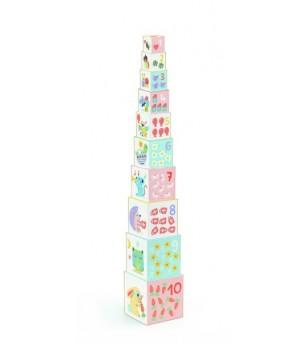 Turn de construit Djeco BabyBloki - Jucării de lemn si Montessori