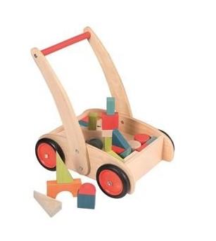 Carucior cu cuburi din lemn - Jucării de lemn si Montessori