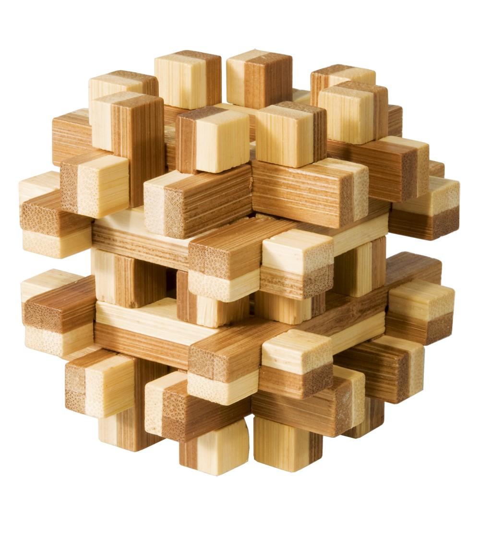 Joc logic IQ din lemn bambus Magic blocks puzzle 3d - Acasa